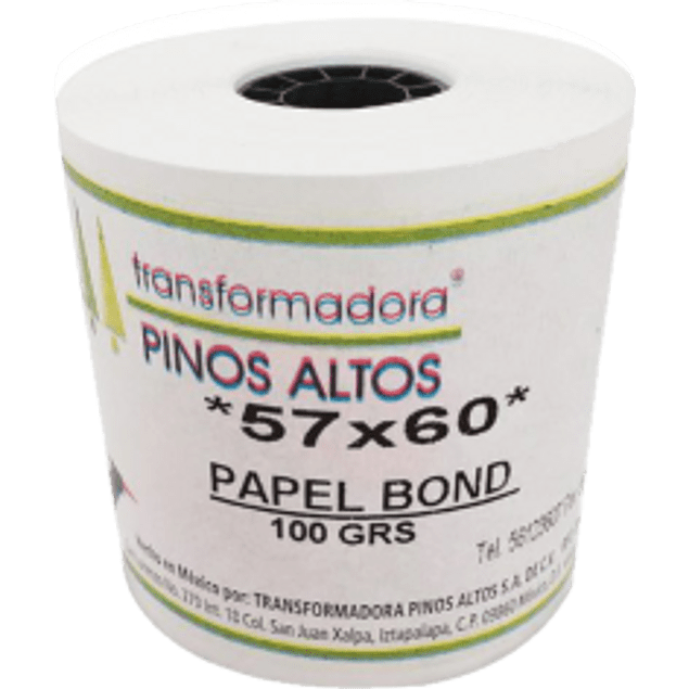 Rollo para sumadora papel bond color blanco, medidas 57 mm x 60 mm
