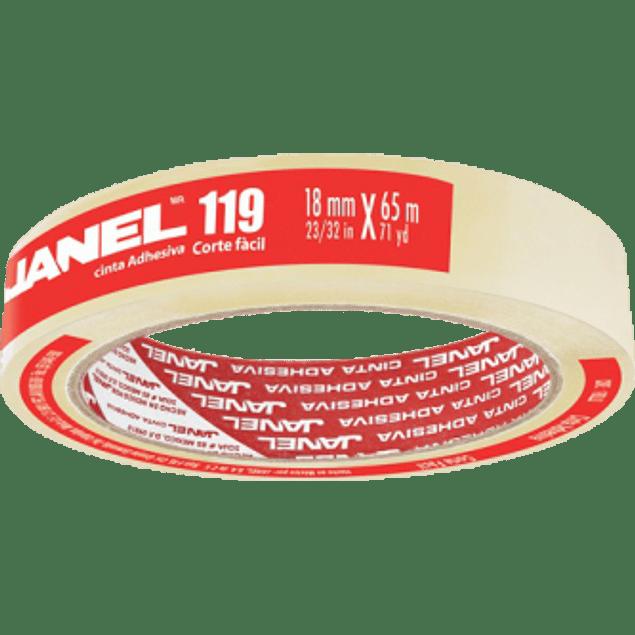 Cinta Adhesiva Transparente modelo 119, medidas 18 mm. x 65 m.