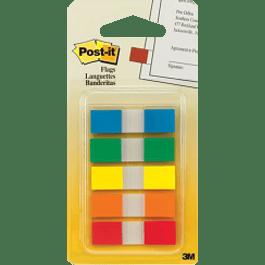 Mini Banderitas de color rojo, naranja, azul, verde, amarillo.