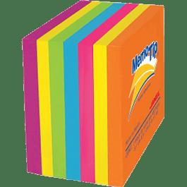 Mini Cubo Notas Adhesivas colores neón, medidas 5.04 x 5.04 cm.