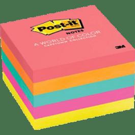 Notas Adhesivas colores neón, medida 7.6 cm x 7.6 cm (3