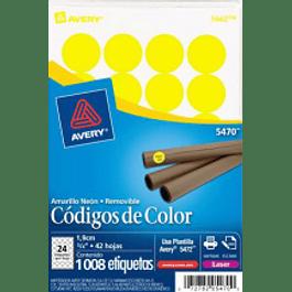 Etiqueta Circular color amarillo brillante, medidas de diámetro de  3/4 (1.9 cm)