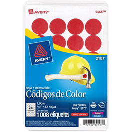 Etiqueta Circular color rojo medida de diámetro 3-/4 (1.9 cm)