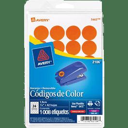 Etiqueta Circular color naranja, medidas de diámetro 3-/4 (1.9 cm)