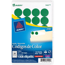 Etiqueta Circular color verde, medidas de diámetro 3/4 (1.9 cm)