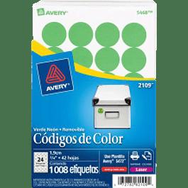 Etiqueta Circular color verde intenso medida de diámetro 3/4 (1.9 cm)