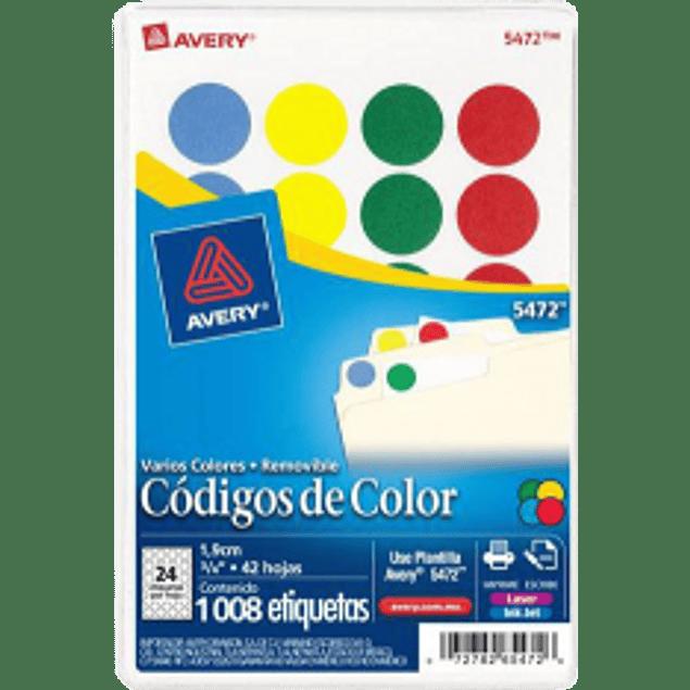 Etiquetas Circulares de 4 colores surtidos, medida 3/4 (19 mm)