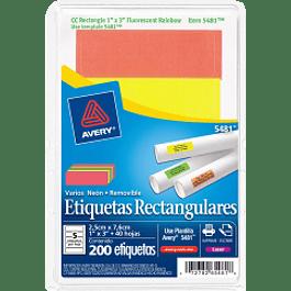 Etiqueta Adhesiva forma rectangular colores fluorescentes, medidas de 1
