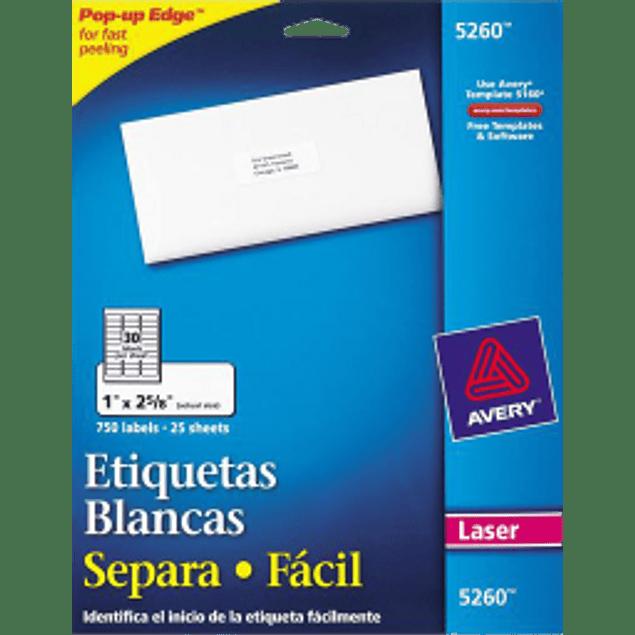Etiquetas Adhesivas color blancas, medidas 1