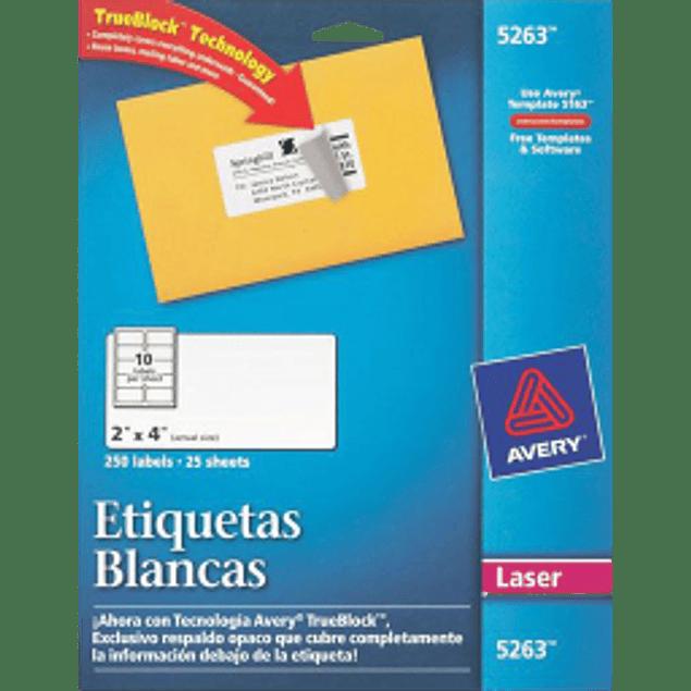 Etiquetas Adhesivas color blancas, medidas 2