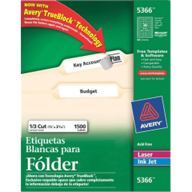 Etiquetas Adhesivas color blanco para folder, medidas 1.7 x 8.7 cm