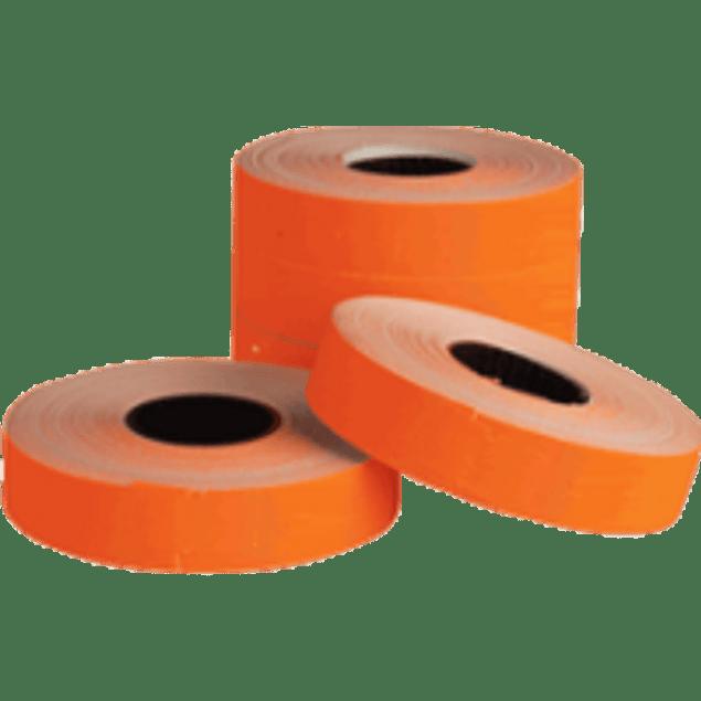 Etiqueta color naranja para maquina etiquetadora.
