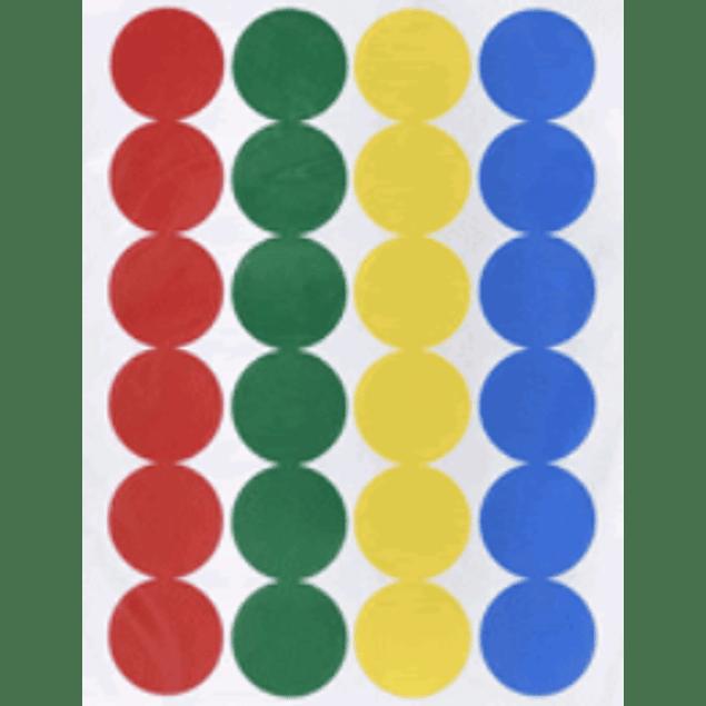 Etiqueta Adhesivas redondas de varios colores, medida 1.9 cm diámetro