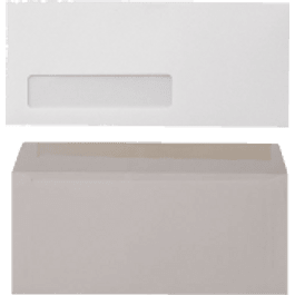 Sobre carta oficio color blanco, con ventana de celofán.