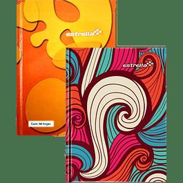 Cuaderno Forma Francesa de raya y  pasta dura, de 96 hojas.