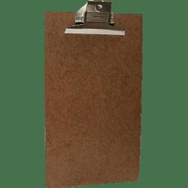 Tabla de Fibracel con broche agarra papel metálico, tamaño oficio
