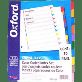 Separador de carpetas tamaño carta, cejas de colores,  juego de 10 divisiones no impresas.