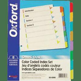 Separador de carpetas tamaño carta, cejas de colores,  juego de 8 divisiones no impresas.