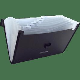 Archivo Expandible tamaño carta color negro, con manija de plástico y cierre broche y 13 divisiones,