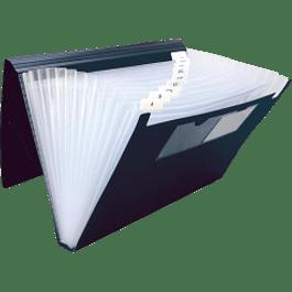 Archivo Expandible porta documento tamaño oficio de 13 divisiones, cierre elástico, color negro