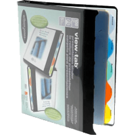 Carpeta view tab tamaño carta con 8 divisiones color negra