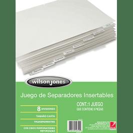 Separador tamaño carta con 8 divisiones, pestañas color blanco