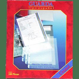 Protector de hojas tamaño carta color cristal, caja con 100 piezas