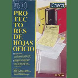 Protector de hojas tamaño oficio color transparente, caja con 50 piezas