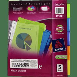 Separador 5 divisiones multicolor, ,de plástico tamaño carta.