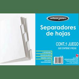 Separador color blanco tamaño carta, de 5 posiciones