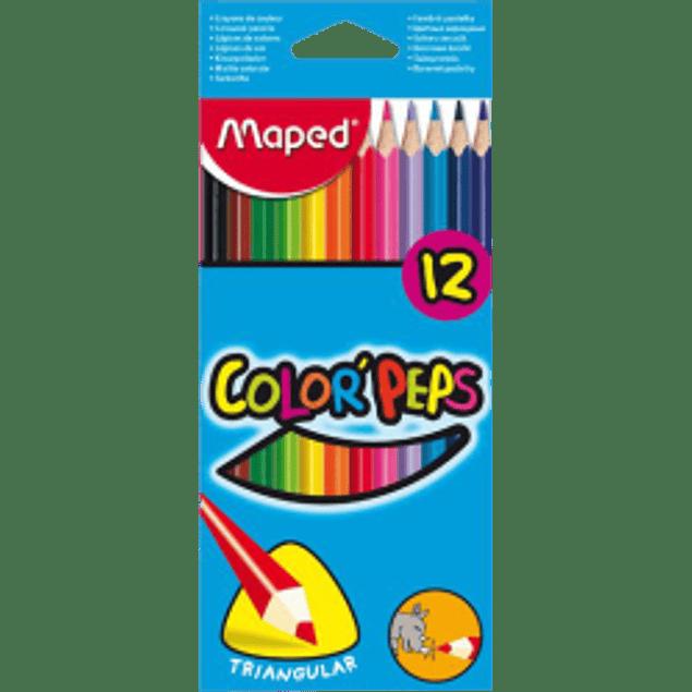 Colores forma triangular, caja con 12 lapices.