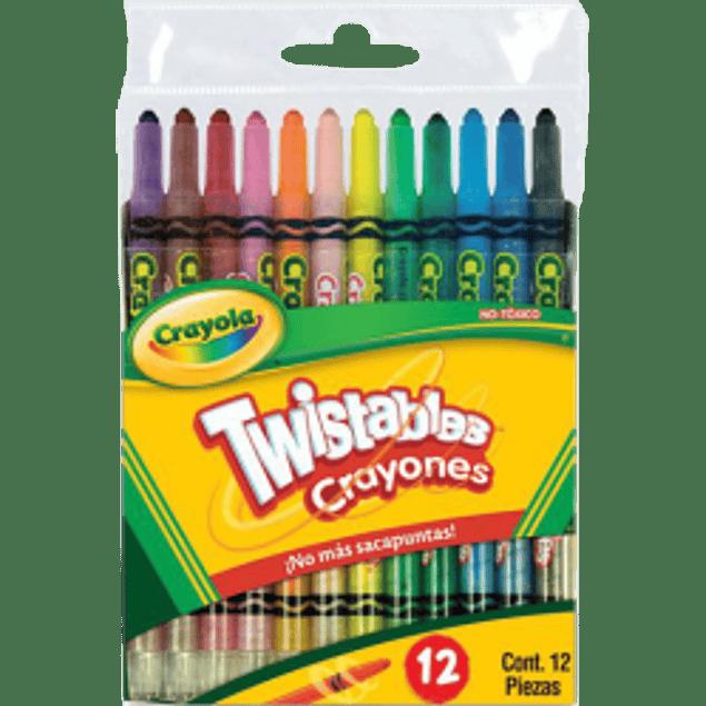 Crayón forma de lápiz girable twistable, paquete con 12 piezas