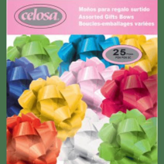 Moño decorativo mediano, color surtido, paquete con 25 pzas