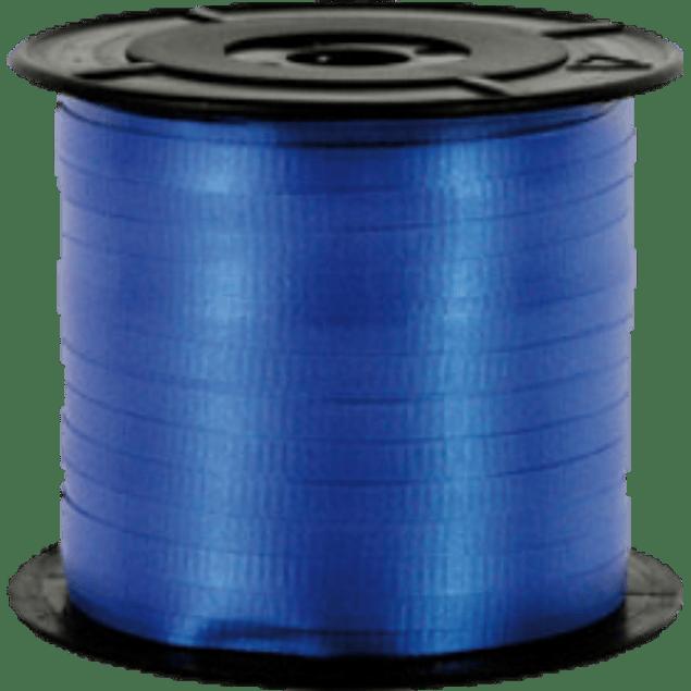 Listón Curling 5 mm color azul, en rollo de 91 metros