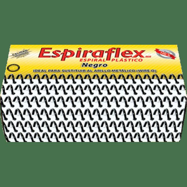 Espiral de plástico color negro medida de 13 mm, paquete con 84 piezas.