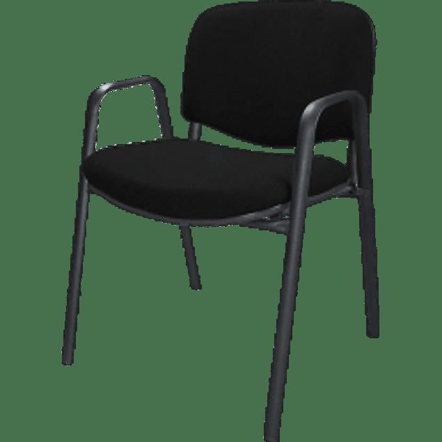 Silla Silla Visita, tela color negra con descansa brazos.