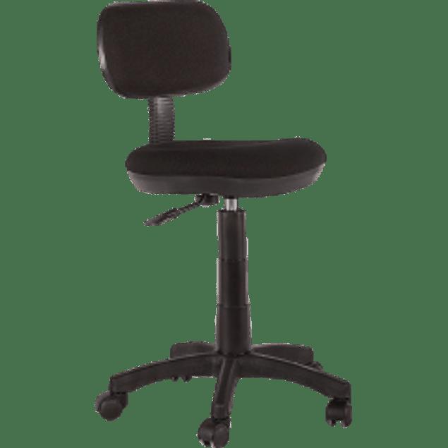 Silla tipo Cajero respaldo bajo tela ruedas y descansa pies, color negro