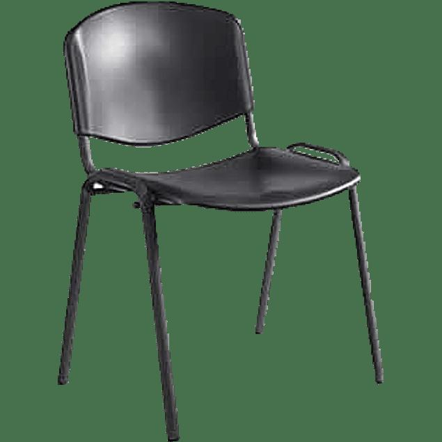 Silla fija color negro ergonómica para visita con base de cuatro patas.