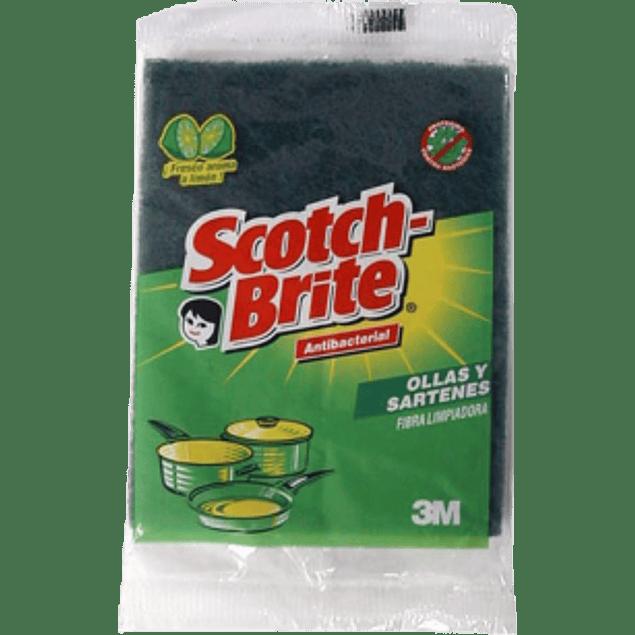 Fibra lavatrastes aroma limón, color verde, tamaño grande.