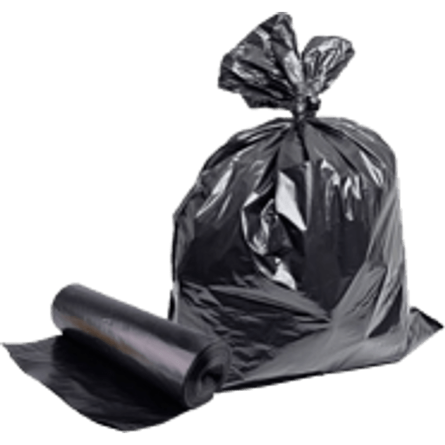 Bolsa para basura color negra tamaño 90 x 120 cm.