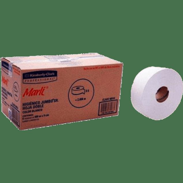 Papel Higiénico Jumbo SR, caja con 6 bobinas de 400 metros.