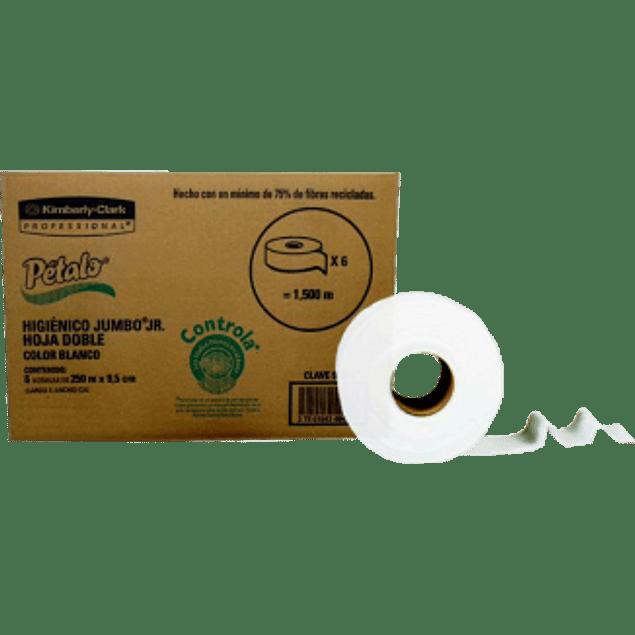 Papel Higiénico color blanco tamaño jumbo junior, de 250 mts caja con 6 piezas