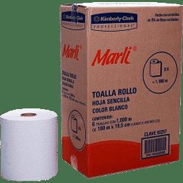 Papel de Toalla para manos en rollo de 180 metros color blanco, caja con 6 piezas