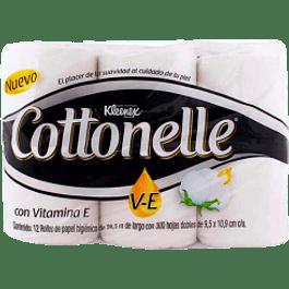 Papel higiénico con Vitamina E 300 hojas con 12 piezas