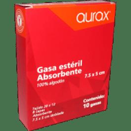 Gasa absorbente estéril, tamaño 7.5 x 5 cm, paquete con 10 piezas.