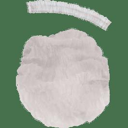 Cofia plisada color blanca, paquete con 100 piezas.