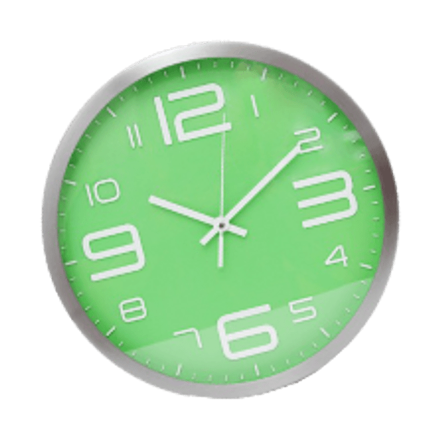 Reloj de pared fondo color verde,  tamaño de 12