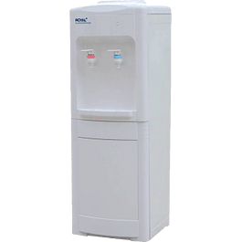 Despachador de agua, color blanco con gabinete de almacenamiento.