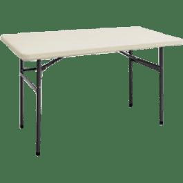 Mesa plegable de plástico color blanca, tamaño 1.22 metros.