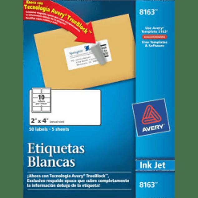 Etiquetas blancas 5.1 x 10.2 cm. caja con 250 etiquetas